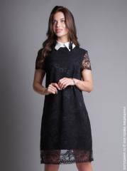 8c62a84cd22 Описание  Элегантное платье из тончайшего кружева. Полностью на подкладке.  Белый воротничок съёмный модель  1224 90% полиэстер