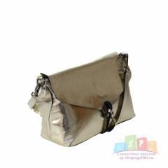 b1cd73486450 Стильная женская сумочка через плечо Selver_Lost из натуральной кожи  золотистого цвета.